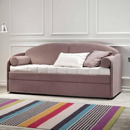 Nowoczesna rozkładana sofa piętrowa z brązowej tkaniny Made in Italy - Pont