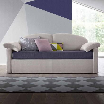 Pojedyncza sofa z pojemnikiem pokrytym tkaniną Made in Italy - Kayla
