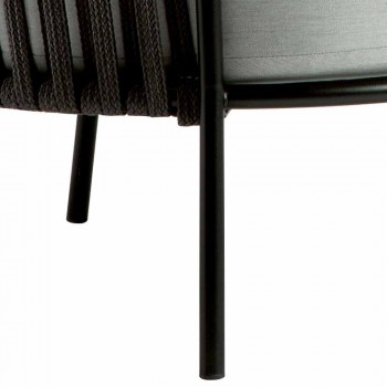 3-osobowa sofa zewnętrzna z metalu, liny i tkaniny Made in Italy - Mari