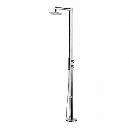 Prysznic zewnętrzny z chromowanej stali nierdzewnej z prysznicem ręcznym Made in Italy - Modeo