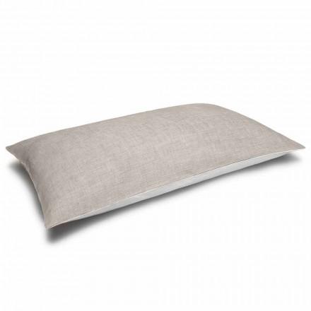Śmietankowa i naturalna dwukolorowa lniana poszewka na poduszkę Made in Italy - Blessy