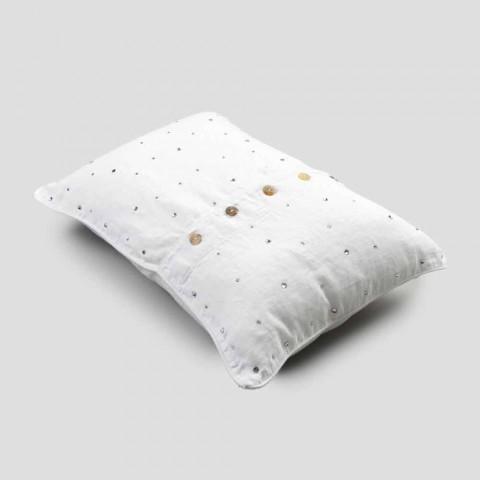 Biała lniana poszewka na poduszkę z prostokątnymi kryształkami dekoracyjnymi - Cenerella
