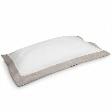 Dwukolorowa poszewka na poduszkę z białego i naturalnego lnu Made in Italy - Poppy