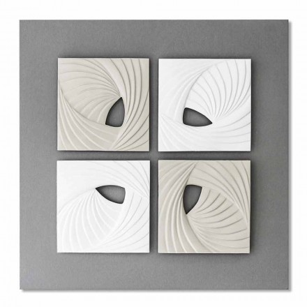 Dekoracyjna instalacja ścienna w kolorze białym i szarym - Bossy