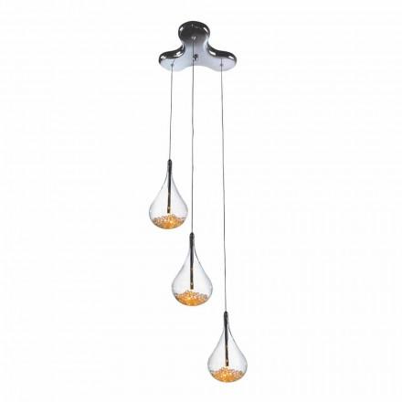 Lampa wisząca z 3 lub 4 lampkami ze szkła borokrzemowego i metalu - gruszki