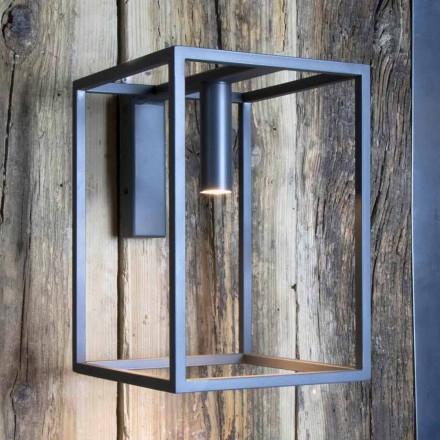 Kinkiet zewnętrzny z żelaza i aluminium z diodą LED Made in Italy - Cubola