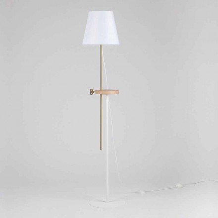 Designerska lampa podłogowa ze stali, jesionu i mosiądzu Made in Italy - Pitulla