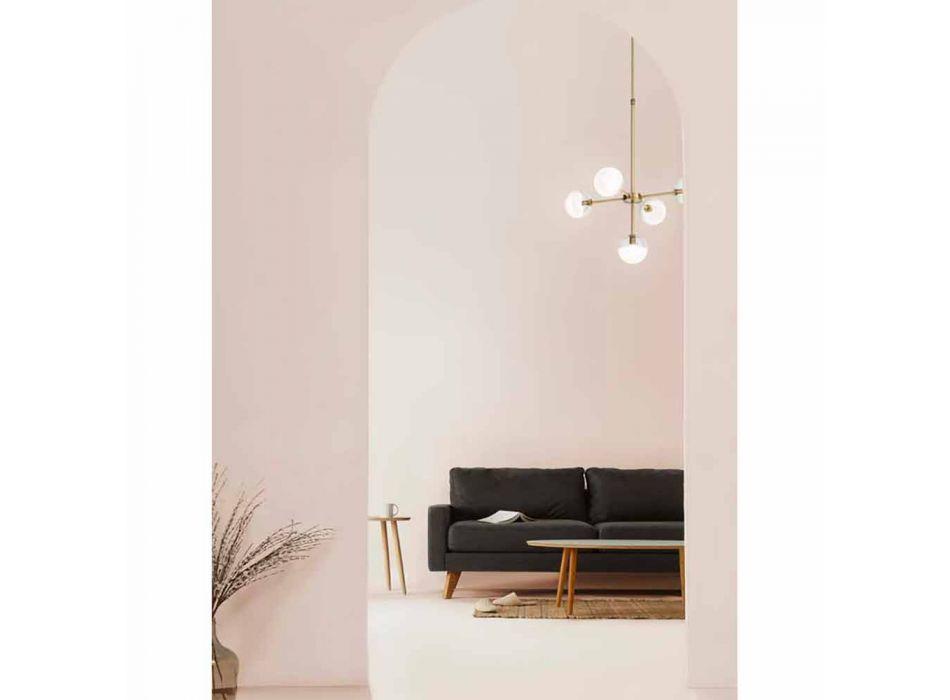 5-punktowa lampa wisząca z naturalnego mosiądzu i szkła - Molecola od Il Fanale