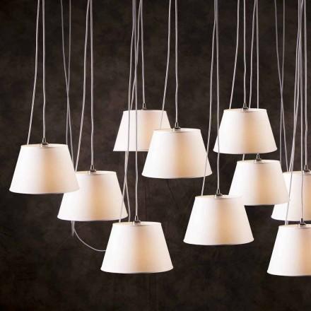 Lampa wisząca design 12 punktowa z białym kloszem Chrome
