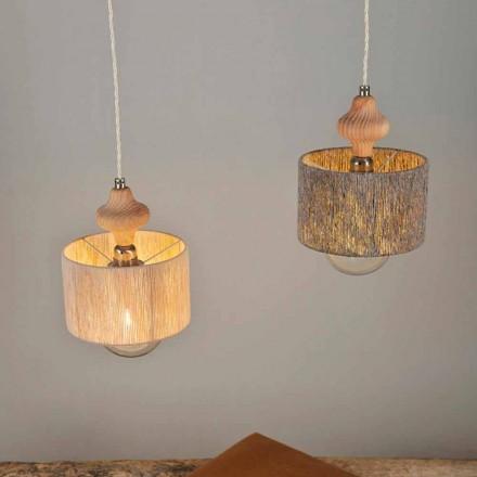 Lampa wisząca 2 punktowa z wstawką drewnianą Bois