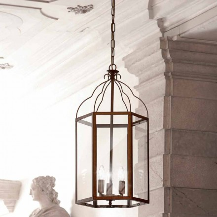 Lampa wisząca 3 światła Turandot z mosiądzu i szkła