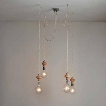 Lampa wisząca 4 punktowa design z elementem drewnianym Bois