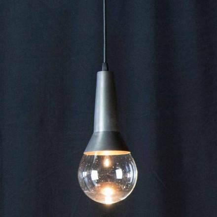 Ręcznie robiona lampa wisząca z czarnego żelaza i szkła Made in Italy - Suspence