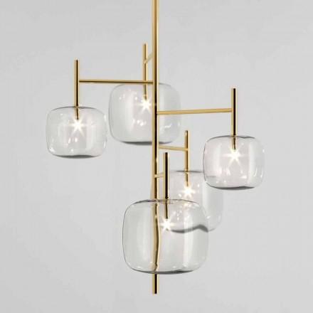 Lampa wisząca z błyszczącą metalową konstrukcją Made in Italy - Donatina