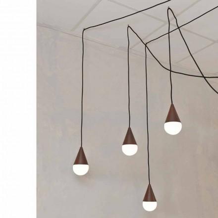Lampa wisząca design 4 punktowa Drop, kolor corten