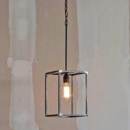 Ręcznie wykonana żelazna lampa wisząca z łańcuchem Made in Italy - Cubola