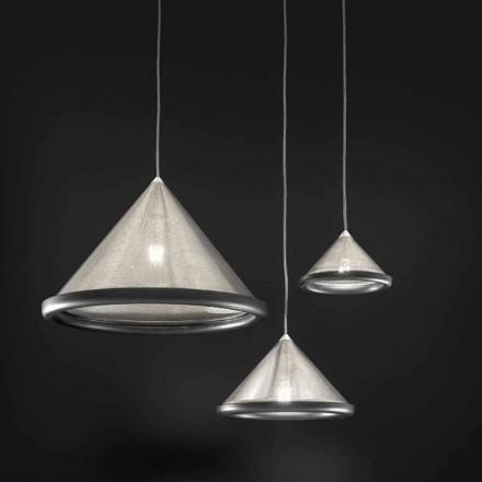 Lampa wisząca ze stali nierdzewnej i ceramiki - Tamiso Aldo Bernardi
