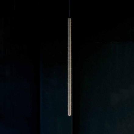 Lampa wisząca z aluminium pokrytego liną Made in Italy - Ginia