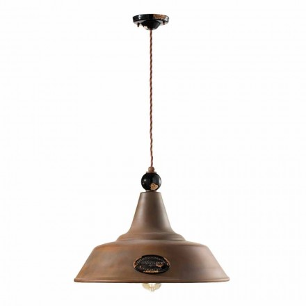 Lampa wisząca z żelaza corten i ceramiki Lois Ferroluce