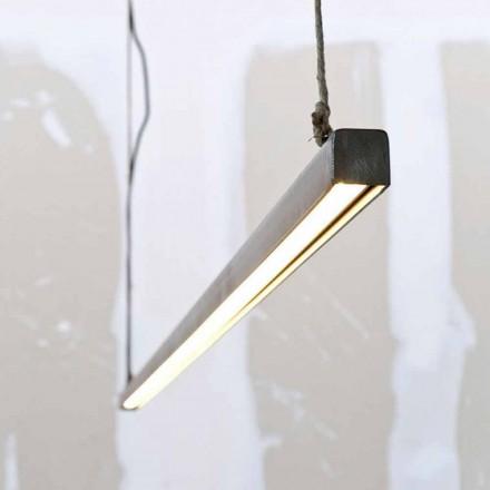 Lampa wisząca z żelaza i liny ze zintegrowaną diodą LED Made in Italy - Stecca