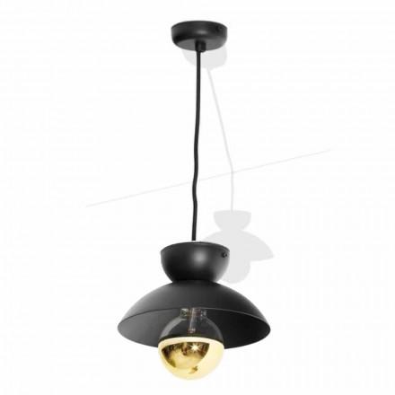 Metalowa lampa wisząca z nowoczesnym złotym detalem Made in Italy - Valta