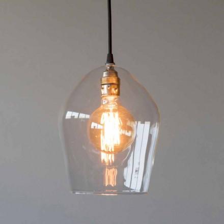 Lampa wisząca ze szkła i żelaza z bawełnianym kablem Made in Italy - Bisma