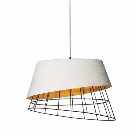 Lampa wisząca z białego włókna szklanego i metalu Elegancki design - Solar