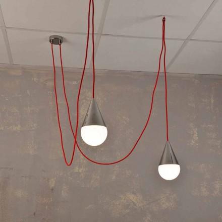 Lampa wisząca design 2 punktowa z przewodem czerwonym Chrome