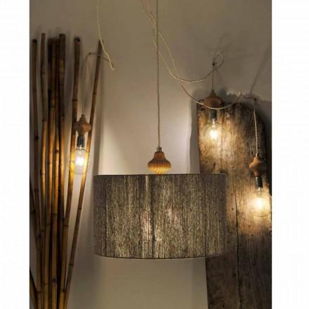 Lampa wisząca nowoczesna 4 punktowa z kawałkiem drewna Bois