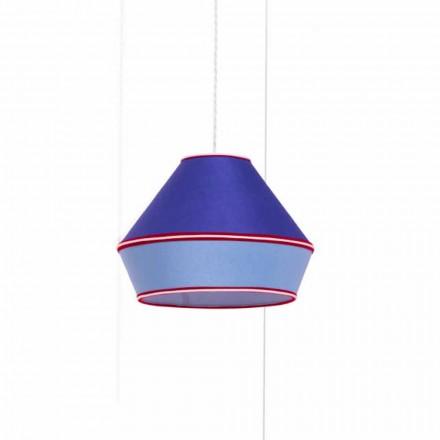 Nowoczesna lampa wisząca z niebieskim bawełnianym abażurem Made in Italy - Soya