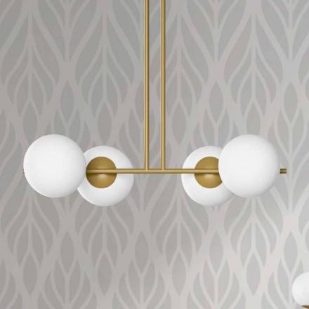 Nowoczesna lampa wisząca z metalu i białego szkła Made in Italy - Carima