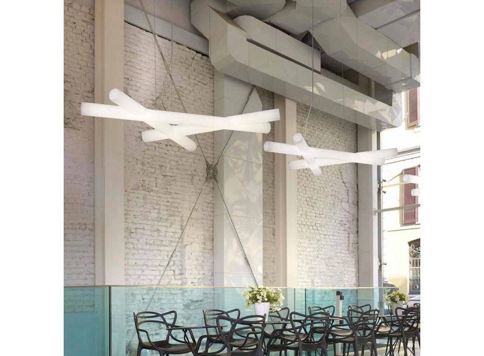 Polietylenowa lampa wisząca White Slide Mesh produkowana we Włoszech