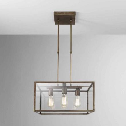 Kwadratowa lampa wisząca z żelaza i szkła London od Il Fanale