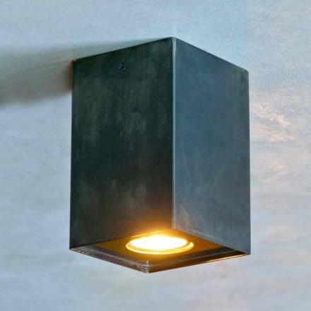 Sześcienna lampa z czarnego żelaza z matowymi spawami Made in Italy - Cubino
