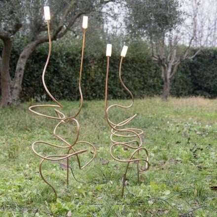 Lampa zewnętrzna z naturalnej miedzi ze szkłem dekoracyjnym Made in Italy - Fusillo
