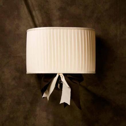 Lampa ścienna design vintage Chanel, jedwab kolor kości słoniowej