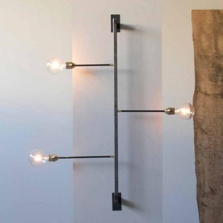 Designerski kinkiet ze strukturą z czarnego żelaza Made in Italy - Anima