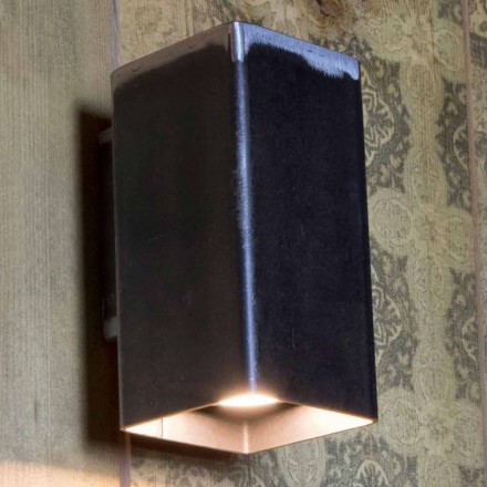 Ręcznie robiony kwadratowy kinkiet z czarnego żelaza Made in Italy - Cubino