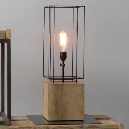 Ręcznie wykonana żelazna lampa stołowa z drewnianą podstawą Made in Italy - drzewo oliwne