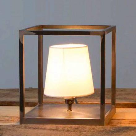 Ręcznie wykonana żelazna lampa stołowa z abażurem Made in Italy - Cubola