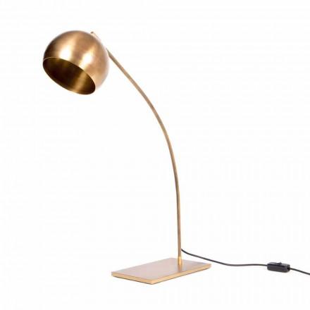 Ręcznie robiona lampa stołowa z żelaza i polerowanego mosiądzu Made in Italy - Brina