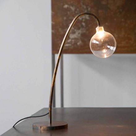 Ręcznie wykonana żelazna lampa stołowa w złotym wykończeniu Made in Italy - Ribolla