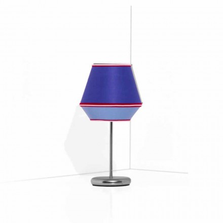 Niebieska lampa stołowa z chromowaną metalową konstrukcją Made in Italy - Soya