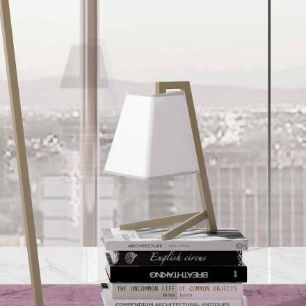 Lampa stołowa o konstrukcji z metalu i tkaniny Made in Italy - Barton