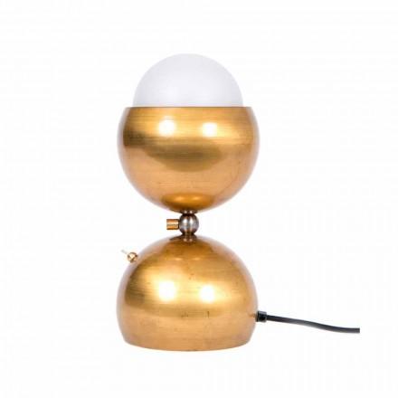 Ręcznie wykonana lampa stołowa z mosiądzu i szkła Made in Italy - Gandia