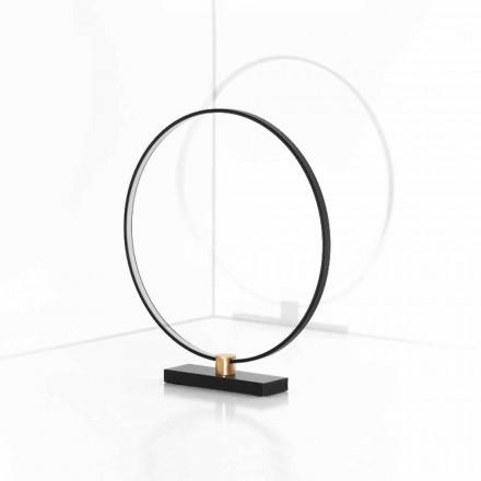 Designerska lampa stołowa z czarnego aluminium i mosiądzu Made in Italy - Norma