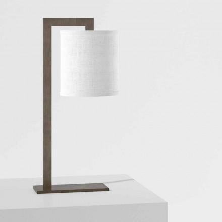 Zaprojektuj lampę stołową z metalu i białej lnu Made in Italy - Bali