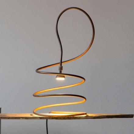 Designerska lampa stołowa z efektem polerowanej miedzi Made in Italy - Fusillo