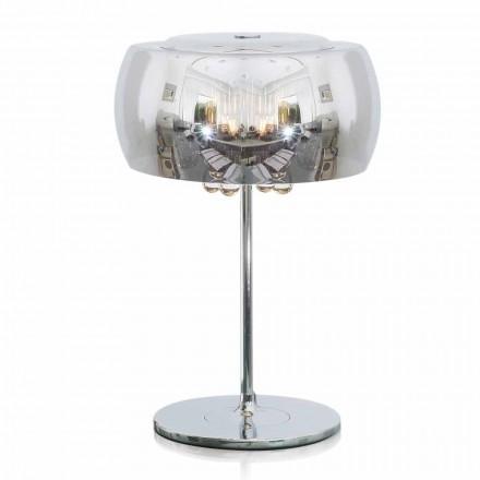Designerska lampa stołowa ze szkła, kryształu i chromowanego metalu - Cambria