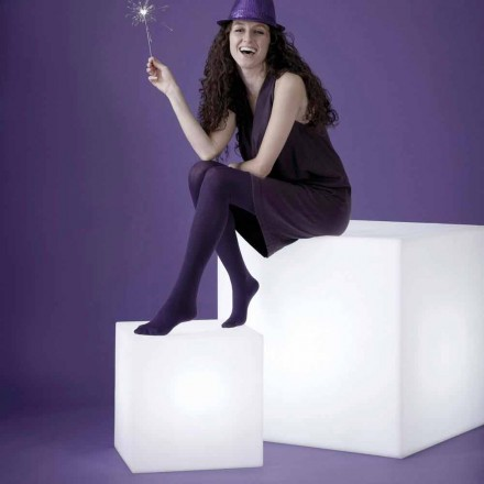 Lampa biała stołowa Slide Cubo, made in Italy